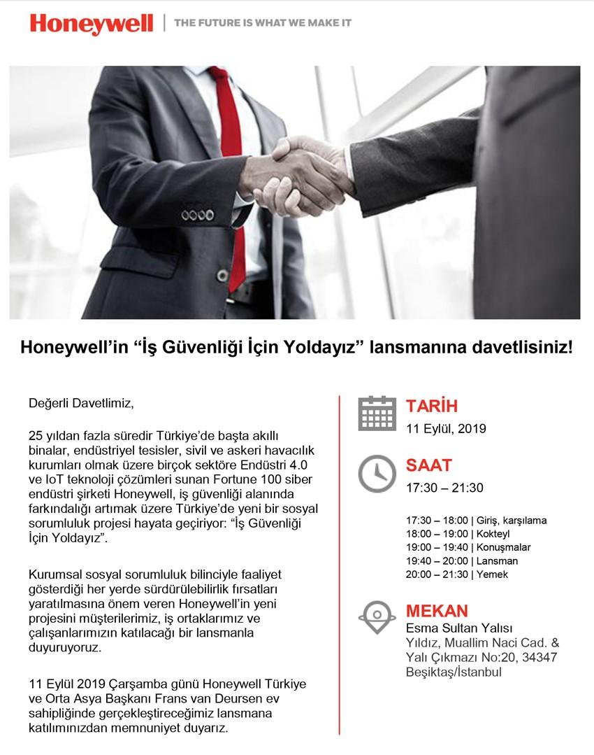 Honeywell İş Güvenliği İçin Yoldayız Lansman Davetiyesi